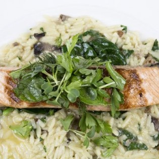Spinach and smoked salmon risotto